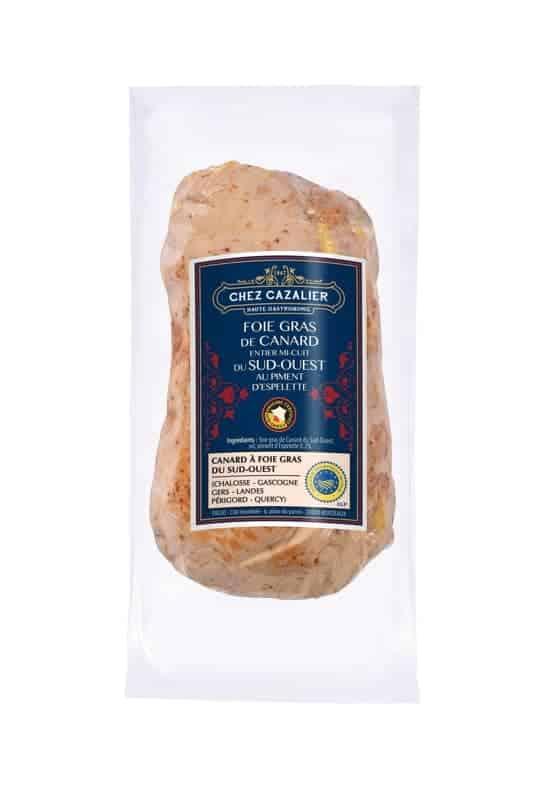 Foie gras de canard entier mi-cuit du sud-ouest au piment d'espelette